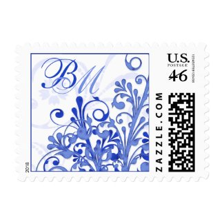 Blue and White Abstract Floral Wedding Postage stamp