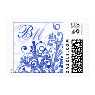 Blue and White Abstract Floral Wedding Postage