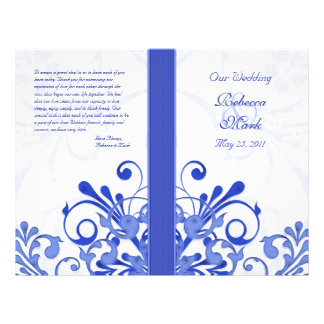 Blue and White Abstract Floral Wedding Program