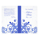 Blue and White Abstract Floral Wedding Program Flyer Design