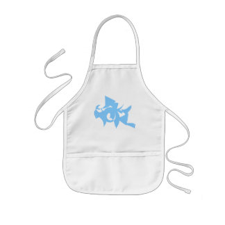 Blue and White Abstract Geometric Graphic. Apron