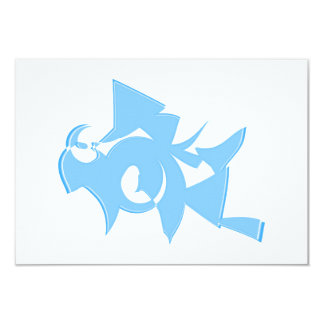 Blue and White Abstract Geometric Graphic. Card
