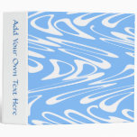 Blue and White Abstract Pattern 3 Ring Binder