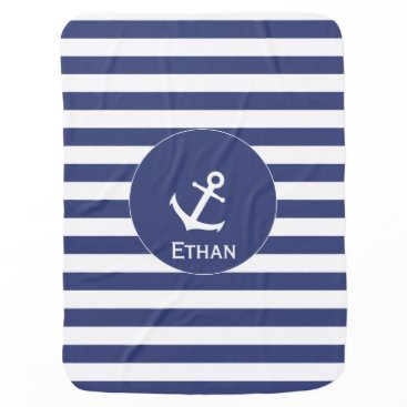 Beach Themed Blue and White Anchor Baby Blanket with Name