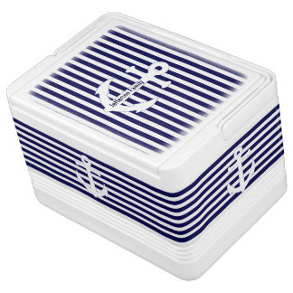 Blue and White Anchors Custom Igloo Can Cooler