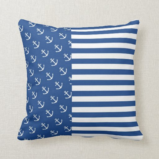 blue and white anchors stripes pillows zazzle. Black Bedroom Furniture Sets. Home Design Ideas