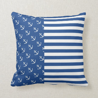 Blue and White Anchors, Stripes Throw Pillow