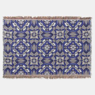 Blue and White Arabesque Blanket Throw