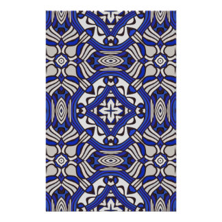 Blue and white Arabesque Custom Stationery