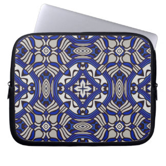 Blue and white Arabesque Laptop Computer Sleeve