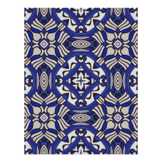 Blue and white Arabesque Personalized Letterhead