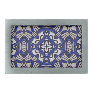 Blue and white Arabesque Rectangular Belt Buckle