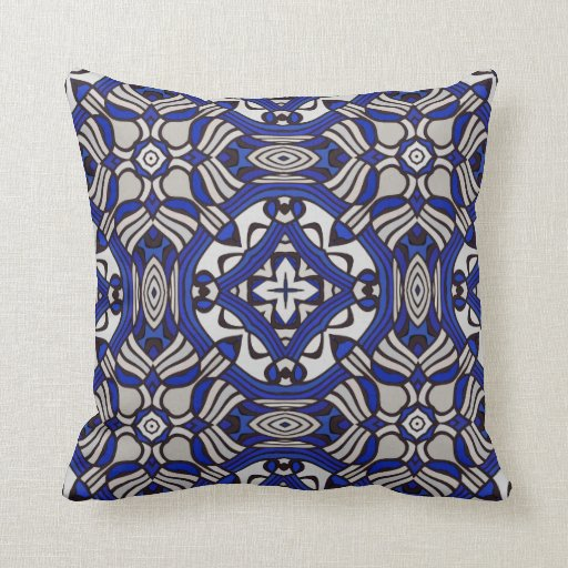Blue White Throw Pillow : Blue and White Arabesque Throw Pillow Zazzle
