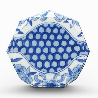 blue and white asian floral award