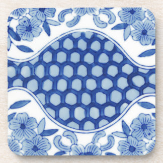 blue and white asian floral coaster