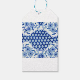 blue and white asian floral gift tags
