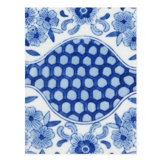 blue and white asian floral postcard