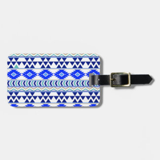 Blue and White Aztec Stripe Pattern Bag Tag