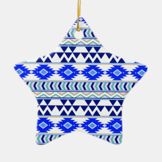 Blue and White Aztec Stripe Pattern Ceramic Ornament