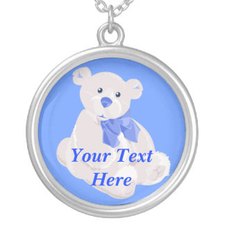 Blue and White Baby Boy Teddybear Round Pendant Necklace