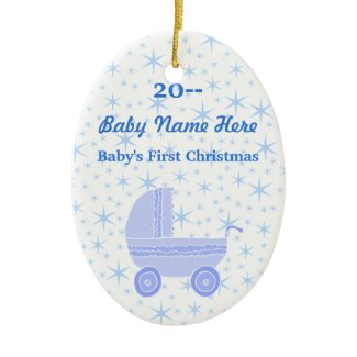 Blue and white. Baby's First Christmas Christmas Ornaments