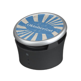 Blue and white background speaker