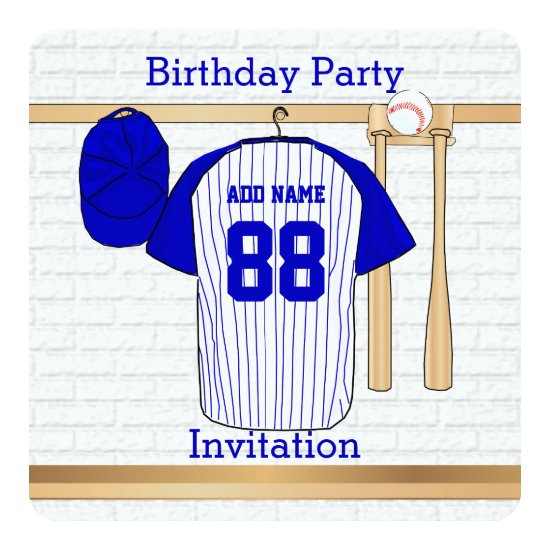 Blue and White Baseball Jersey Birthday Party Invitation