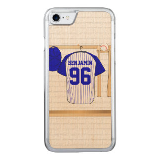 Blue and White Baseball Jersey Carved iPhone 8/7 Case
