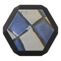 Blue and White Basketball Abstract Black Bluetooth Speaker