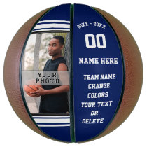 Blue and White Basketball Ball, Your PHOTO, TEXT