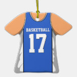 Blue and White Basketball Jersey 17 V1 Christmas Tree Ornament