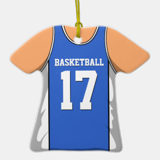 Blue and White Basketball Jersey 17 V1 Double-Sided T-Shirt Ceramic Christmas Ornament