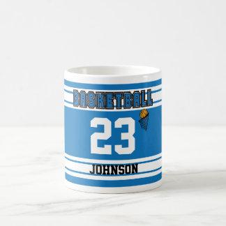 Blue and White Basketball Jersey Coffee Mug