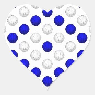 Blue and White Basketball Pattern Heart Sticker