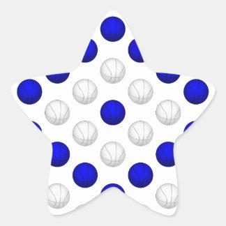Blue and White Basketball Pattern Star Sticker