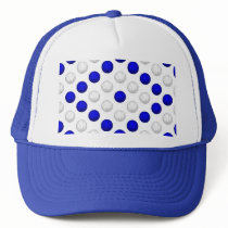 Blue and White Basketball Pattern Trucker Hat