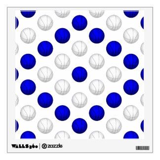 Blue and White Basketball Pattern Wall Sticker
