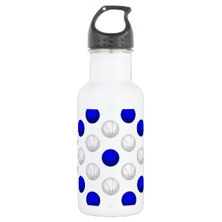 Blue and White Basketball Pattern Water Bottle