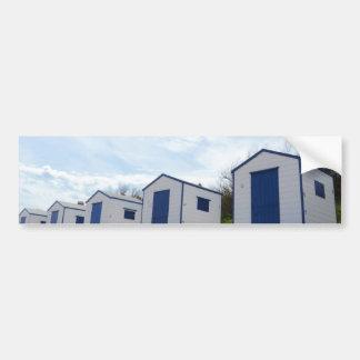 Blue And White Beach Huts Bumper Sticker