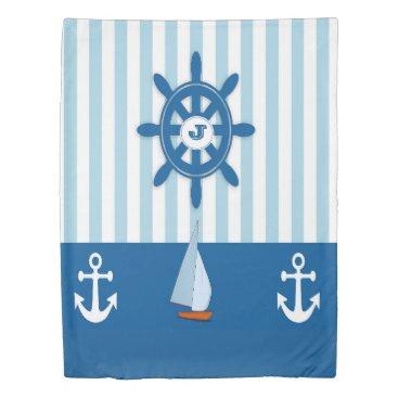 Beach Themed Blue and white Beach themed monogramed design. Duvet Cover