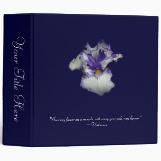 Blue and White Bearded Iris Flower 3 Ring Binder