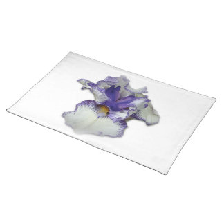 Blue and White Bearded Iris Flower Cloth Placemat