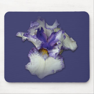 Blue and White Bearded Iris Flower Mouse Pad
