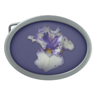 Blue and White Bearded Iris Flower Oval Belt Buckle