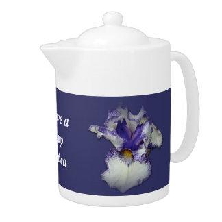 Blue and White Bearded Iris Flower