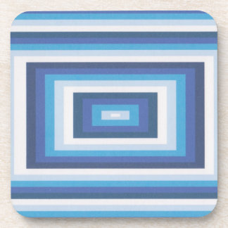 Blue and white beveled look coasters