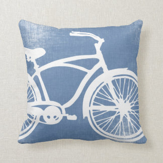 Blue and White Bicycle Pillow