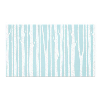 Blue and White Birch Trees Gallery Wrap Canvas