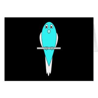 Blue and White Bird. Parakeet. Black. Card