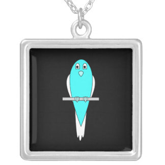 Blue and White Bird Parakeet Black Custom Jewelry